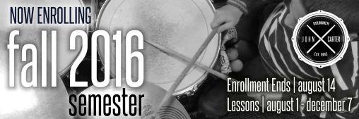 john carter drummer Fall 2016 Enroll with Logo